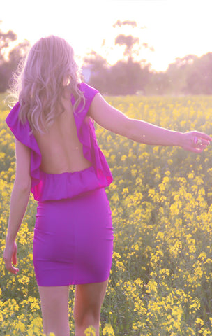 MAGENTA RUFFLE DRESS