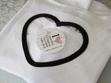 White Fabric with Black Heart Edge