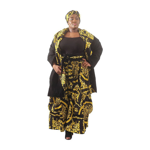 Plus Size African Style Reversible Suede Jacket & Palazzo Pants