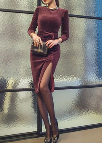 Round Neck Long Sleeve Slit Design Black Dress, Delivery In About 16 Days