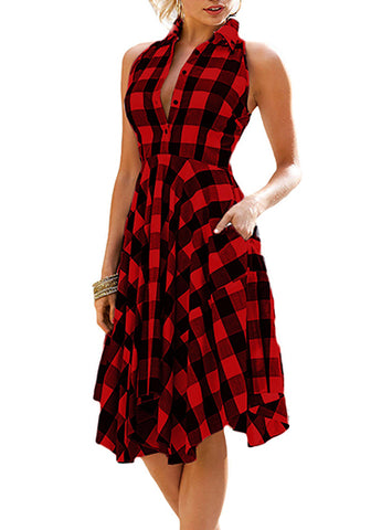 Plaid Shirt Style Dress with Collar Delivery In About 18 Days
