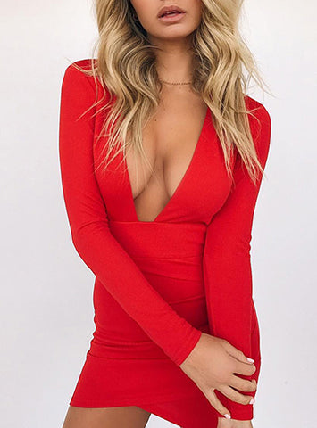 Bodycon Dress - Extreme Plunging Neck Delivery In About 18 Days