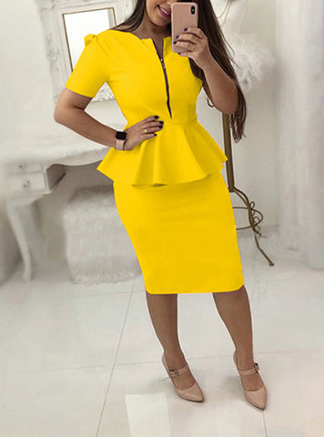 Zipper and Peplum Pencil Dress  Short Sleeve Delivery In About 18 Days