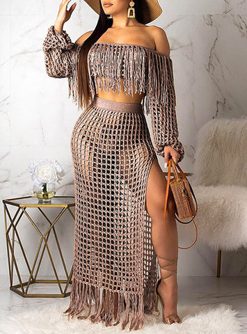 Women's 2-Piece Crop Top and Maxi Skirt Deliver in About 18Days