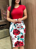 Fitted Short Sleeve Floral Printed Pencil Skirt Delivery In About 18 Days