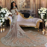 2017 Wedding Dress Sexy Sheer Bling Beaded Lace Applique High Neck, Delivery In About 24 Days
