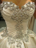 New 2015 Crystal Pearls Embroidery Bridal  Wedding Gown. 10% Off On All Of Our Products At Checkout.
