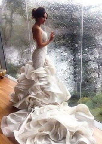Formal Mermaid Wedding Dress Lace Up Organza Chapel Train, Delivery In 23 Days.