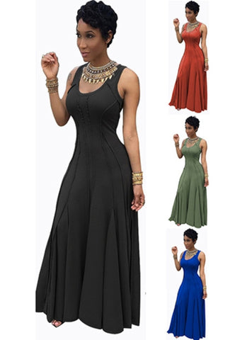 Full Skirted Sleeveless Maxi Dress - Delivery In About 15 Days