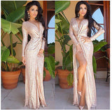 Formal Party Sequins Gold Evening Gown, Delivery In About 18 Days.