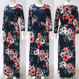 2019 Summer Long Dress Floral Print Boho Beach Tunic Maxi Dress