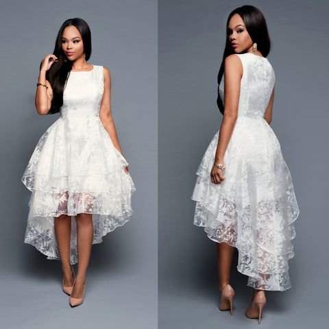 High-Low Floral Lace White Formal Skater Dress, Delivery In About 15 Days