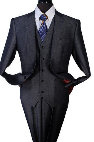 3 Piece Wall Street Suit, Single Breasted 2 Buttons, Side Vents, 5 Button Vest. 10% Off Your Entire Order At Checkout.