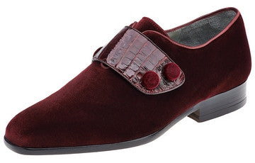 Men Velvet And Crocodile Dress Shoe. M.