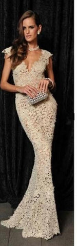 Stunning Mermaid Lace Formal Evening Dress, Delivery In About 22 Days