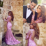 Arabic Mermaid Sweep Train Lace Appliques Plus Size Party Prom Gown.