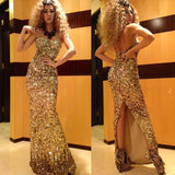 Gorgeous sparkly Arabic Dubai Sequined Formal Dress,