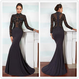 Black Sheath Formal Lace Applique Top High Neck Long Sleeve Evening Dress.