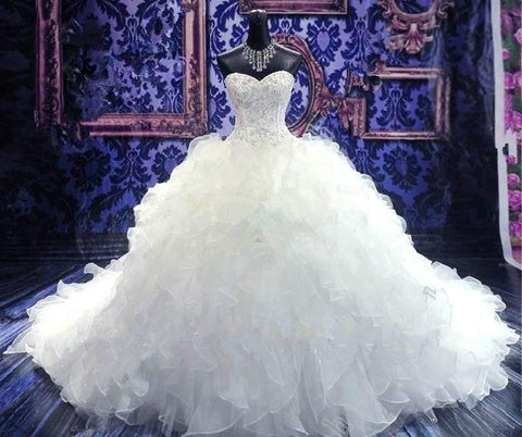 Luxury Beaded Embroidery Cathedral Bridal Wedding Gown.