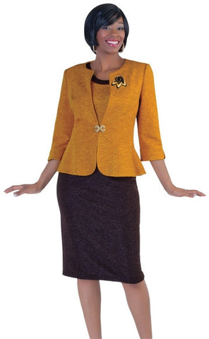 Ladies Professional Or Church Dress Suit : BTT1-9341	Color : Mustard/Coffee.