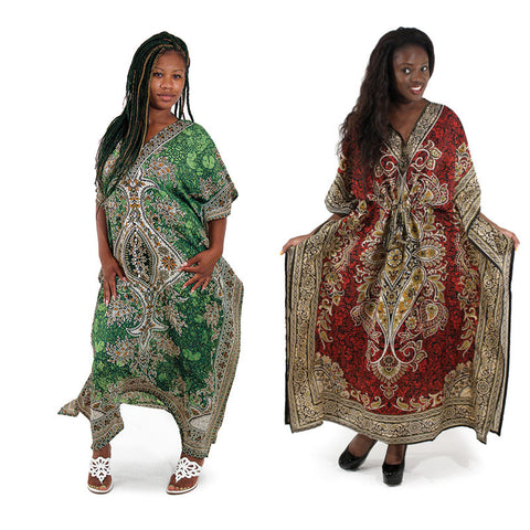 Woman African  Pull-String Kaftan - Batik, Delivery In About 13 Days.