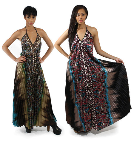 Woman African Double Paisley Fan Dress,