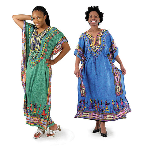 Traditional African Print Draw-String Kaftan, Delivery In About 7 Days