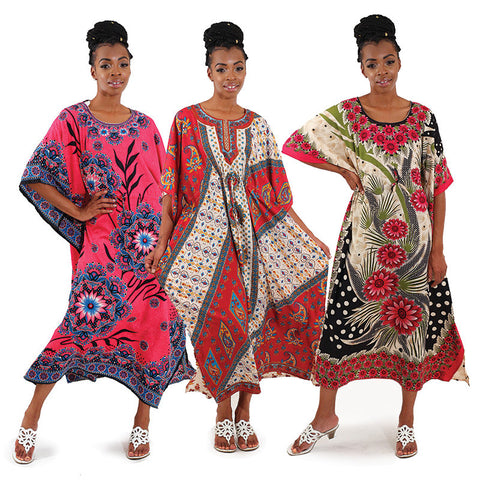 Woman African  Flower Kaftans ,Sale Buy All Three For $75.00