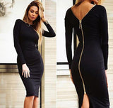 Fashion Black Long Sleeve Party Dress, Delivery In About 14 Days