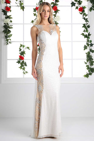 Full Length Formal Evening Prom Dress has Sheer Neckline, About 8 Days For Delivery.