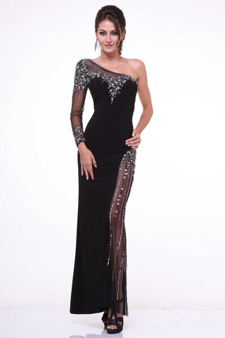 Formal Full Length Sheath Shape Prom Evening Dress, One Shoulder, Delivery In About 15 Days