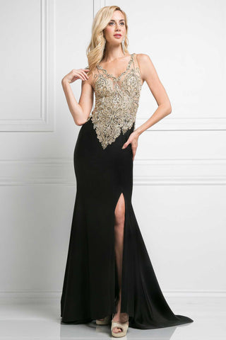 Floor Length Formal Sheath Shape Elegant Evening Dress has Sheer Bodice, Delivery In About 8 Days.