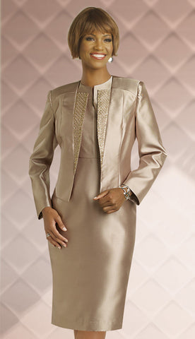 2 pc Silk Look Jacket Dress, Church Attire By  Chancelle.
