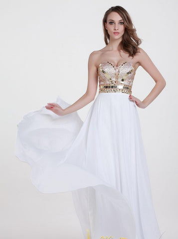 A Line With Sweetheart Neck Sleeveless Long Chiffon Party Dresses.