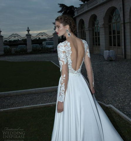 1697a9b707a2 ... Berta Lace V See Through Tulle Backless Long Sleeves Wedding Gown.