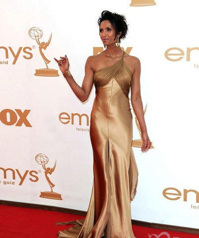 2014 Emmy Awards Padma Lakshmi Like Custom Satin Sheath One Shoulder Celebrity Dress.