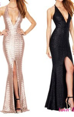 Champagne Sequin Mermaid Hem Stunning Dusk Till Dawn Gown Formal Evening Dress