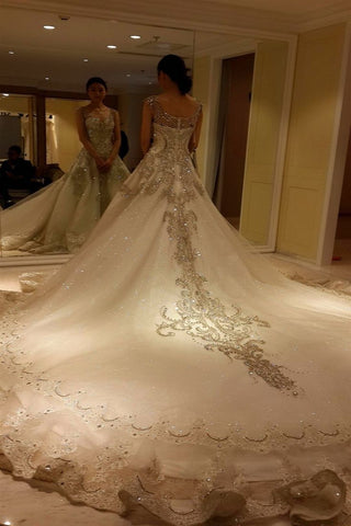 Wedding Dress With Sweetheart Straps Beaded Crystal Rhinestone Illusion. Delivery In 24 Days