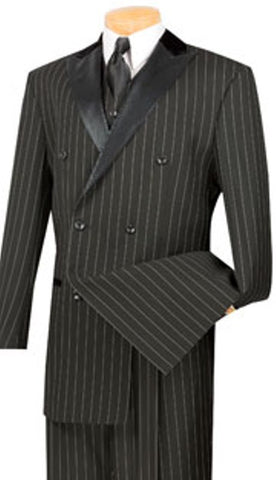 Men 3 Pc Double Breasted Pin Striped Velvet Lapel With Extra Long Jacket.