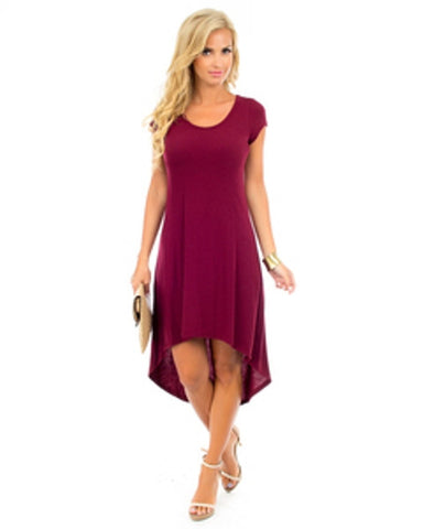 Burgundy High Low Tee Dress, Marked Down 50% + 10% Off.