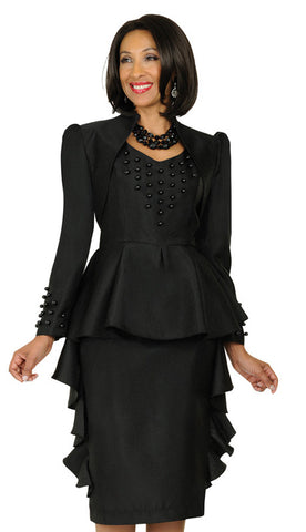 2pc Black Silk Look Church Dress By Nubiano.
