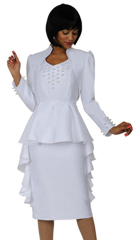 2pc Silk Look Dress By Nubiano -White