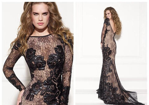 2015 New Lace Formal Evening Dresses Black Lace.