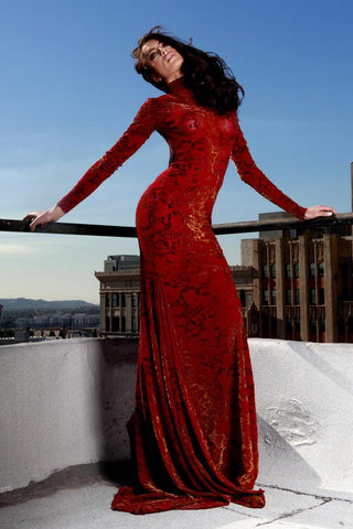 Sexy Holiday Red Long Sleeve Lace Formal Evening Gown.