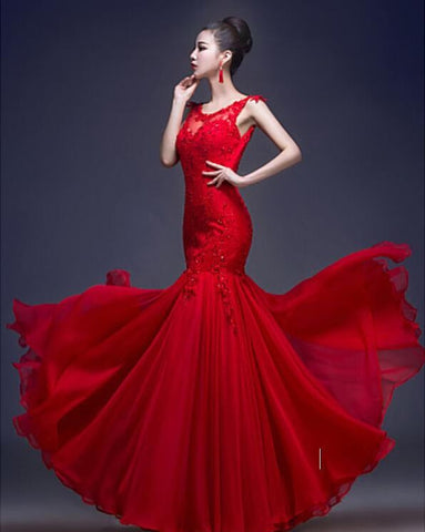 Custom Made Mermaid Ruby Trumpet/Mermaid Scoop Floor-length Dress