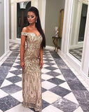 Gold Formal Sequined Maxi Party Dress, Delivery In About 20 Days