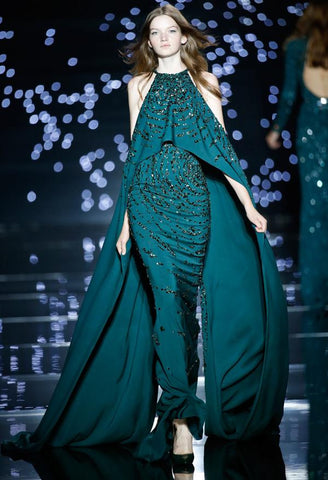 Zuhair Murad Like Formal Evening Dresses Jewel Neck Green Chiffon with Beads.