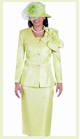 3pc Silk Look Giovanna  Womens Suit - Lime