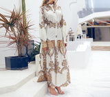 Elegant Vintage Women Shirt Dress Ladies Autumn Long Sleeve Maxi Boho Dress