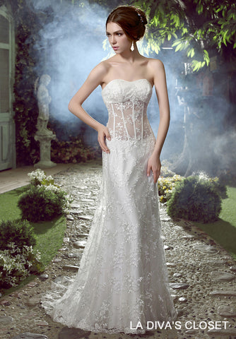 FORMAL SEXY SHEER TOP LACE WEDDING DRESS Style, Real Pictures Of The Dress You Will Receive.